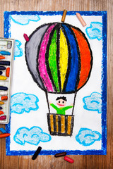 colorful drawing: hot air balloon