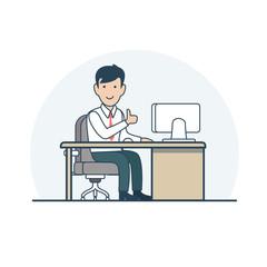Linear Flat Business man sit vector illustration life
