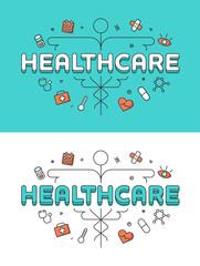 Linear Flat Caduceus Health care icons vector Healthcare