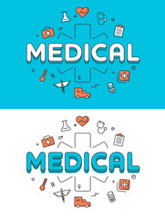 Linear Flat Emergency Medical Cross Health care icons vector