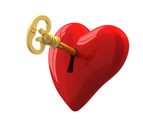 heart and key  3d illustration