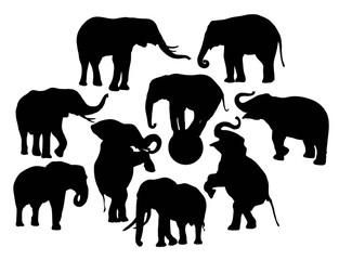 Elephant Vector Silhouettes, illustration art vintage design