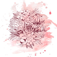 Floral doodle on watercolor background