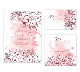 Floral peach wedding set