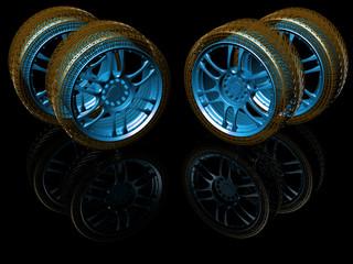 New wheels isolated on black. 3d illustration.