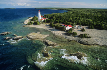 Aerial of cove island lighthouse on Bruce Peninsula, ontario, Canada.