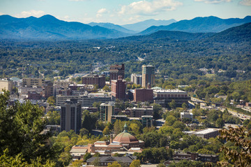 Downtown Asheville, North Carolina and Blue Ridge Mountains