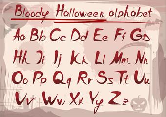Bloody halloween alphabet on vintage grunge background. Vector font