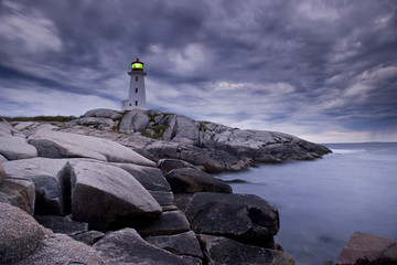 Lighthouse at Peggy's Cove during approaching storm, Nova Scotia, Canada.