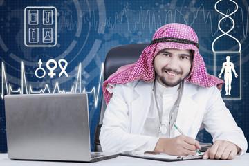 Arabian physician smiling at the camera