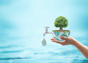 Forest big rain tree arbor planting on blue aqua world on women's human hand: Water drop running from faucet tap: Saving aqua reforestation conceptual csr esg idea: Element of image furnished by NASA