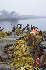 Dock and fishing gear at Indian Harbour Nova Scotia, Canada.