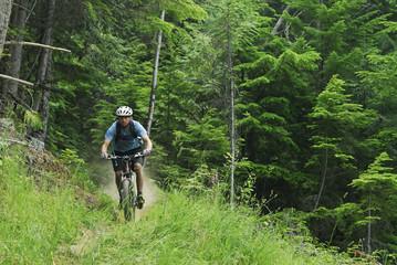 Man bikes the Seven Summits trail, Rossland, British Columbia, Canada.