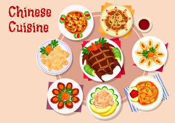Chinese cuisine meat dishes icon for menu design