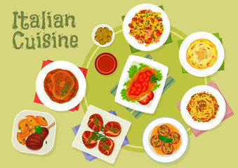 Italian cuisine traditional meat dishes icon
