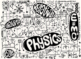 Physical formulas and phenomenon. hand-drawn illustration. scien