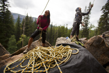 climbers belaying at Lost Boys crag, Jasper National Park, Alberta, Canada