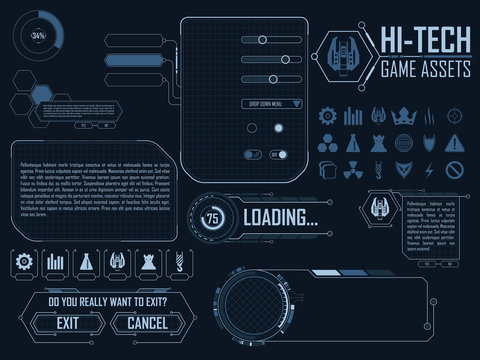 Vector elements for strategy space video game