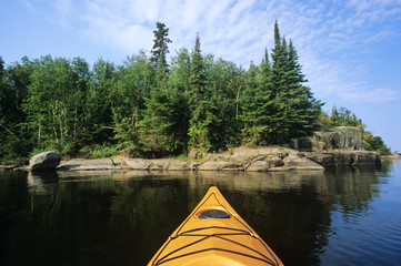 Kayak, Nutimik Lake, Whiteshell Provincial Park, Manitoba, Canada.