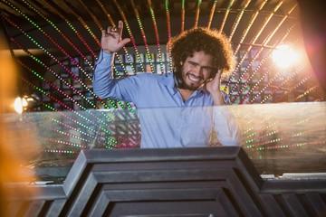 Male DJ playing music