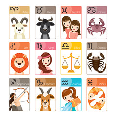 Zodiac Signs Icons Set, Astrological, Constellation, Western, Fortunetelling, Animal