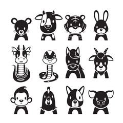 Twelve Animals Chinese Zodiac Signs Icons Set, Monochrome, Horoscope, Astrological, Constellation, Eastern, Fortunetelling