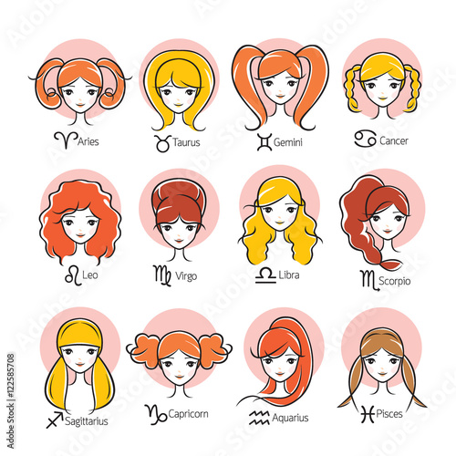 Quot Woman With Twelve Zodiac Signs Icons Set Astrological Constellation Beauty Hairstyle Salon