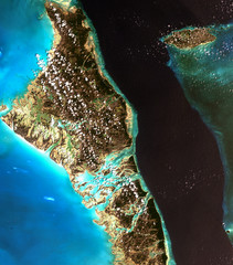 The Bahamas from Landsat satellite. Elements of this image furnished by NASA