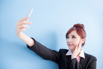 business woman take smart phone