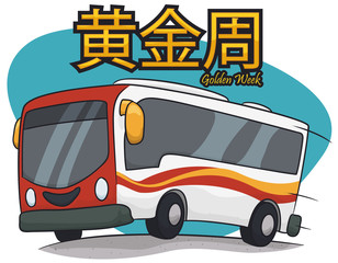 Poster with Smiling Cartoon Bus to Travel in Golden Week, Vector Illustration