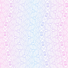 Ornamental Indian pink and blue colors seamless pattern. Vector illustration