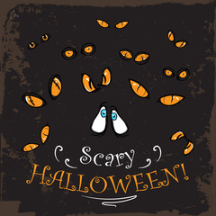 Scary yellow eyes halloween card. Vintage.