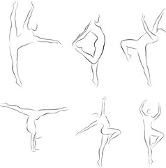 Set of dancing women outline silhouettes, vector illustration
