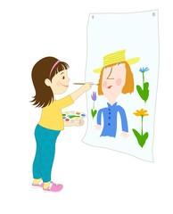 Иллюстрация с изображением маленькой девочки, которая держит палитру и рисует портрет красками.