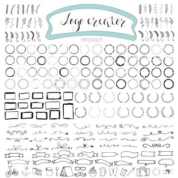 Handdrawn logo elements with arrows, ribbons, laurels, badges, squares, circles. Design your own perfect logo. Logo design isolated on background and easy to use. Vector illustration