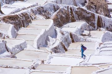 Salt pond mines of Maras, 40kilometers north of Cuzco, in the Cuzco Region of Peru
