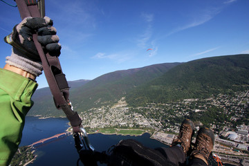 Paragliding above Nelson BC, Canada