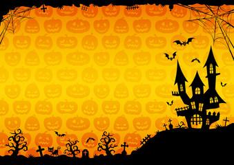 ハロウィン:城のそびえる背景(オレンジ)横2
