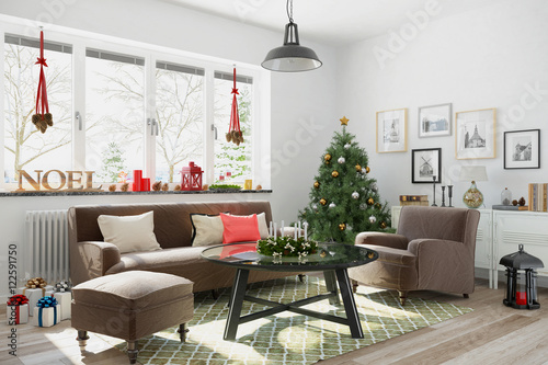skandinavisches nordisches wohnzimmer mit einem sofa christbaum und weihnachtlicher deko. Black Bedroom Furniture Sets. Home Design Ideas