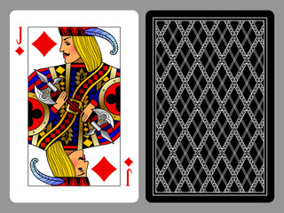 Jack of Diamonds playing card and the backside background