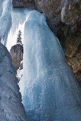 Ice formations in winter at Panther Falls, Banff National Park, Alberta, Canada.