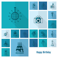 Happy Birthday Icons Set