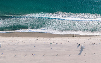 Aerial view of Santa monica beach from helicopter