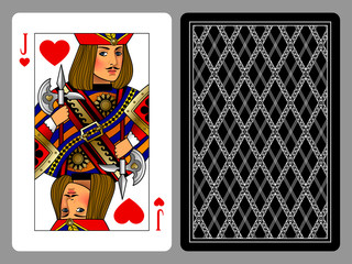 Jack of Hearts playing card and the backside background