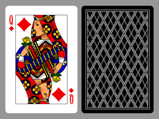 Queen of Diamonds playing card and the backside background
