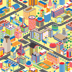 Colorful isometric city seamless pattern. Vector illustration cartoon town background