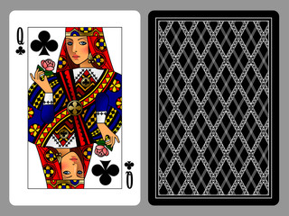 Queen of Clubs playing card and the backside background