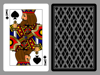King of Spades playing card and the backside background