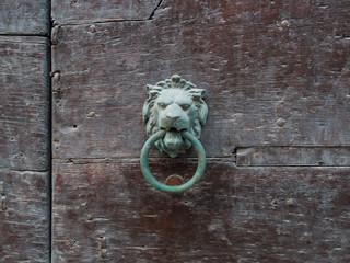 lion's head medieval door knocker on old wooden door