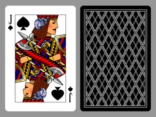 Jack of Spades playing card and the backside background